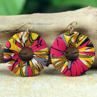 Cotton Dangle Earrings 'Ewurayaa' (Ghana)