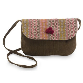 Handcrafted Cotton 'Geometry In Rose' Shoulder Bag (Guatemala)