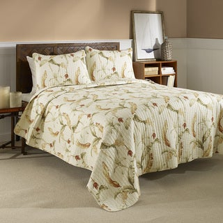 Tommy Bahama Banana Leaf Reversible Cotton 3-piece Quilt Set