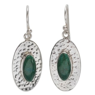 Sterling Silver 'Unconditional' Chrysocolla Dangle Earrings (Peru)
