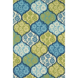 Hand-hooked Indoor/ Outdoor Capri Blue/ Multi Rug (3'6 x 5'6)
