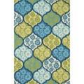 Hand-hooked Indoor/ Outdoor Capri Blue/ Multi Rug (3'6 x 5'6)