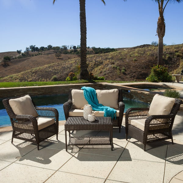 Christopher Knight Home Palermo 4 piece Outdoor Wicker Set