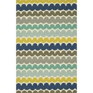 Hand-hooked Indoor/ Outdoor Capri Multi Stripe Rug (2'3 x 3'9)