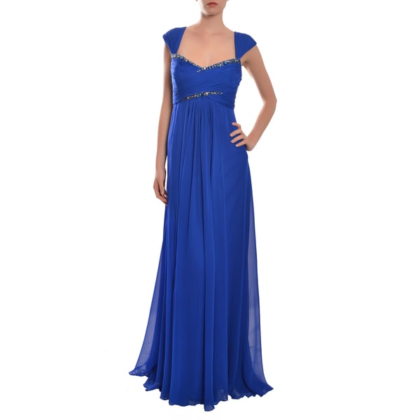 Marchesa Notte Women's Cobalt Blue Silk Chiffon Evening Dress