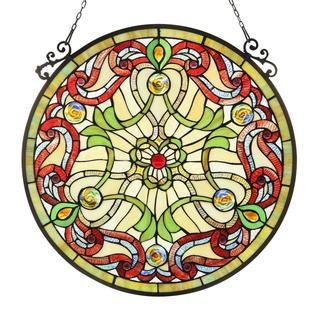 Tiffany Style Victorian Design Stained Glass Window Panel