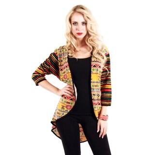 Women's Yellow Mixed Print Open-front Cardigan
