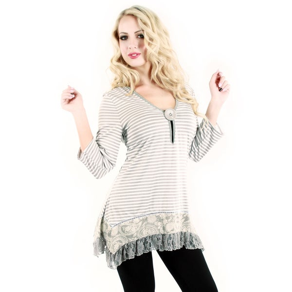 Firmiana Women's Grey Stripes and Lace Tunic