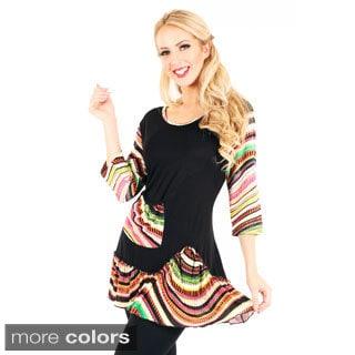 Women's Multicolored Wave Pattern Tunic