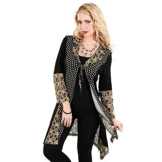Women's Black and Beige Mixed Pattern Open-front Cardigan