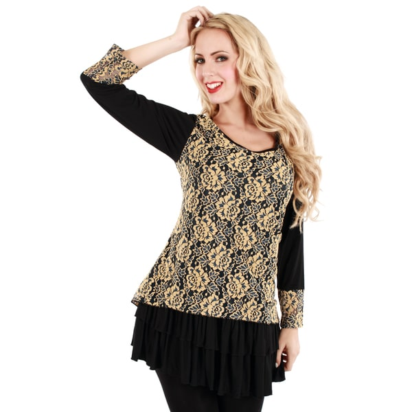 Firmiana Women's Black and Yellow Floral Lace Top