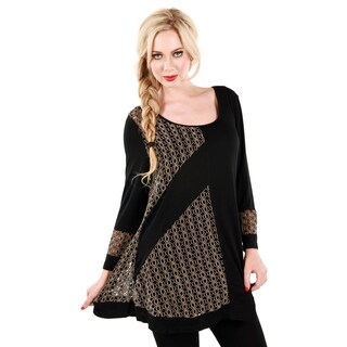 Women's Black and Beige Mixed Pattern Relaxed Tunic