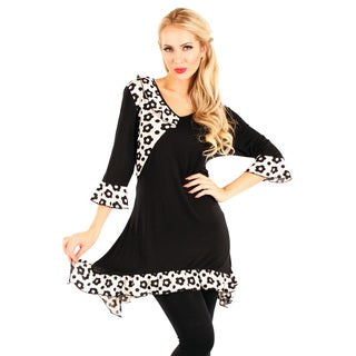 Firmiana Women's Black and White Floral Print Long Sleeve Tunic