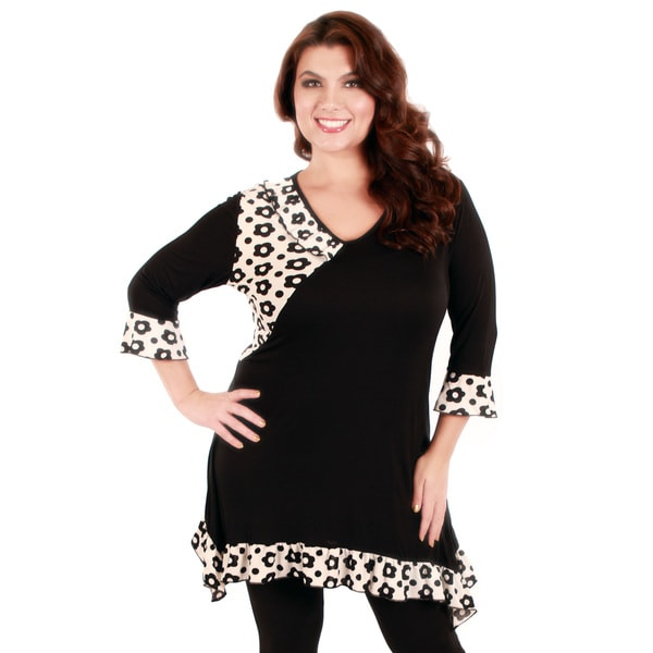 Firmiana Women's Plus Black and White Floral Print Long Sleeve Tunic