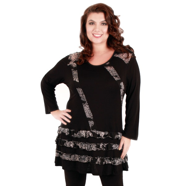 Firmiana Women's Plus Size Black and Grey Tiered Ruffles Tunic