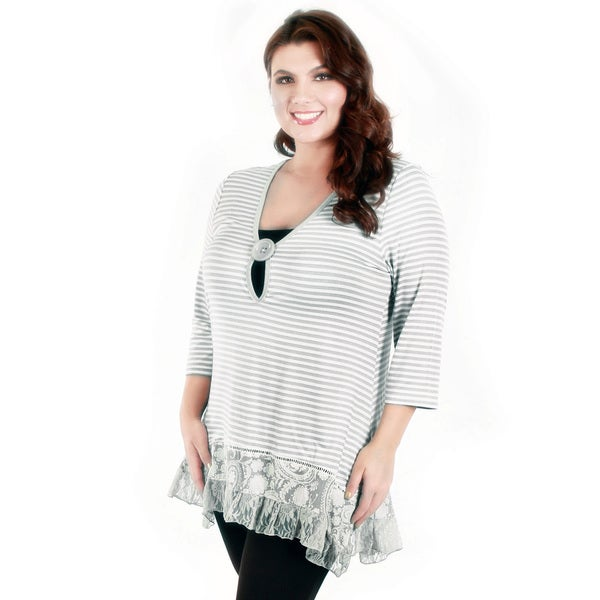 Firmiana Women's Plus Size Grey Stripe 3/4 Sleeve Top