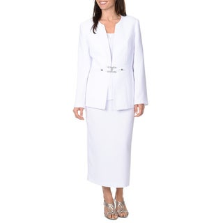 Giovanna Signature Women's 3-piece Skirt Suit with Rhinestone Bow Closure