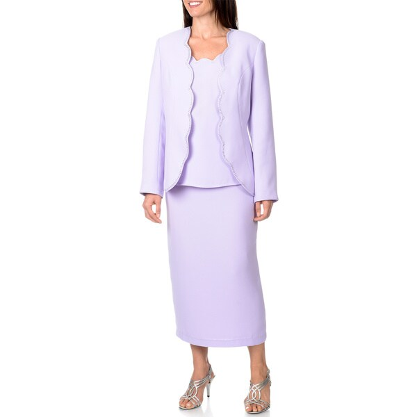 Giovanna Signature Women's 3-piece Scallop Edge Skirt Suit