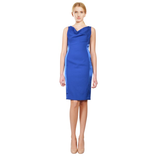 Rene Ruiz Cobalt Blue Cowl Neck Sleeveless Satin Panel Sheath Cocktail Evening Dress