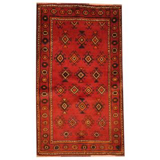 Herat Oriental Semi-antique Afghan Hand-knotted Tribal Balouchi Red/ Navy Wool Rug (2'7 x 4'6)