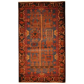 Herat Oriental Semi-antique Afghan Hand-knotted Tribal Balouchi Navy/ Black Wool Rug (2'11 x 5')