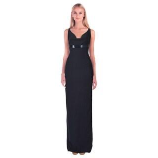 Armani Collezioni Women's Blue Draped Beaded Empire Evening Dress