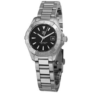 Tag Heuer Women's WAY1410.BA0920 '300 Aquaracer' Black Dial Stainless Steel Quartz Watch