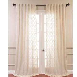 Saida Embroidered Faux Linen Sheer Curtain Panel