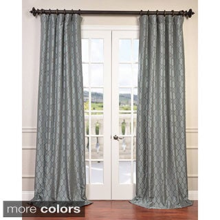 Exclusive Fabrics Meridian Flocked Faux Silk Taffeta Curtain Panel