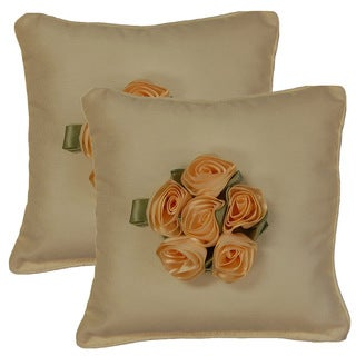 Shantung Bouquet Ivory 12.5-inch Throw Pillows (Set of 2)