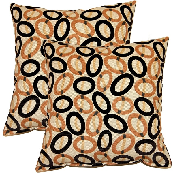 Frisbee Ebony 17-inch Throw Pillows (Set of 2)