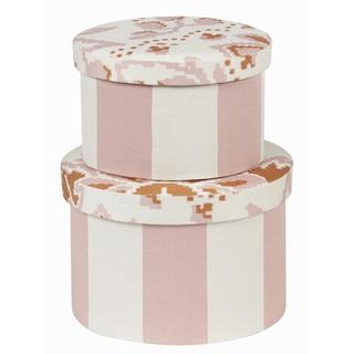 Pink Round Decorative Boxes (Set of 2)