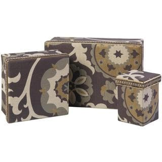 Polyester Grey Rectangular Boxes (Set of 3)