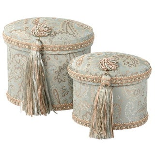 Blue Paisley Oval Boxes (Set of 2)
