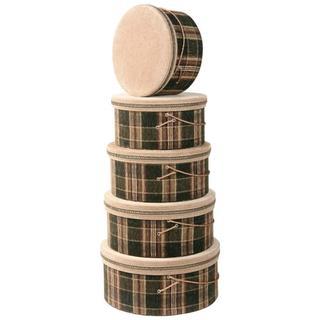Plaid Heirloom Hat Boxes (Set of 5)