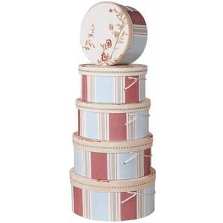 Floral Stripes Heirloom Hat Boxes (Set of 5)
