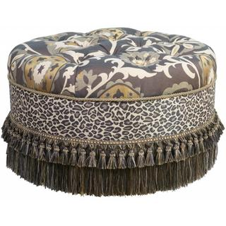 Upholstered Multi-colored Jacquard Round Ottoman