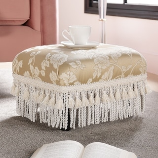Jennifer Taylor Beige Heirloom Footstool