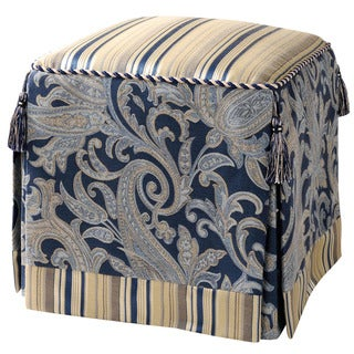 Upholstered Blue/ Ivory Vanity Stool