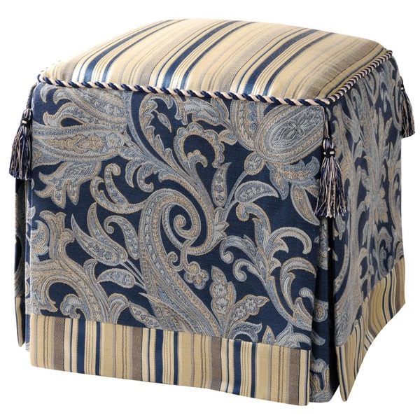 Jennifer Taylo Upholstered Blue/ Ivory Vanity Stool