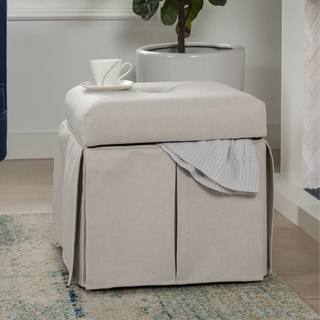 Jennifer Taylor Upholstered Light Blue Storage Vanity Stool