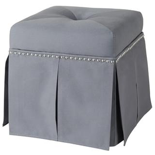 Grey Upholstered Tufted Nail Head Storage Vanity Stool