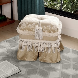 Brown/ Ivory Upholstered Rectangular Ottoman