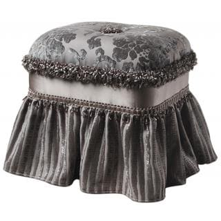 Grey Upholstered Tufted Rectangular Ottoman