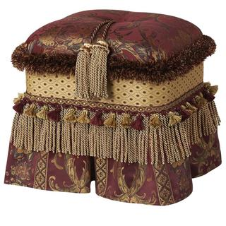 Upholstered Burgundy Tasseled Rectangular Ottoman