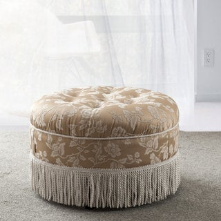 Floral and Fringe Round Ottoman