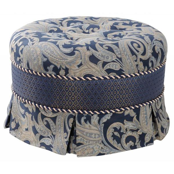 Blue Floral Decorative Ottoman
