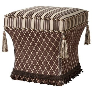 Brown Stripe Top Pedestal Ottoman