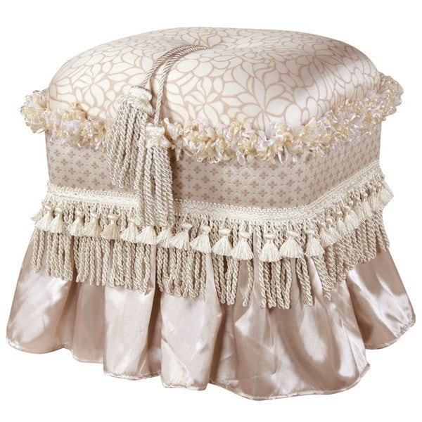 Jennifer Taylor Beige Silky Tufted Top Rectangle Ottoman