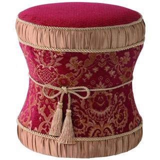 Red/ Beige Hour Glass Ottoman